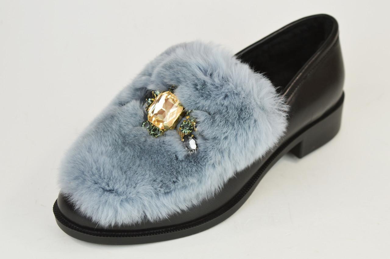 Туфли кожаные с мехом кролика Lottini