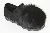 Туфли женские с мехом песца Veritas 201