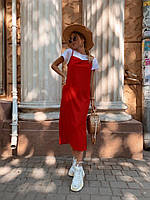 Жіночий костюм двойка майка+сукня червона софт S-M L-XL летний костюм топ+платье сарафан красное 42-44,46-48