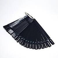 Палитра веер чёрная для гель лаков на кольце 50шт