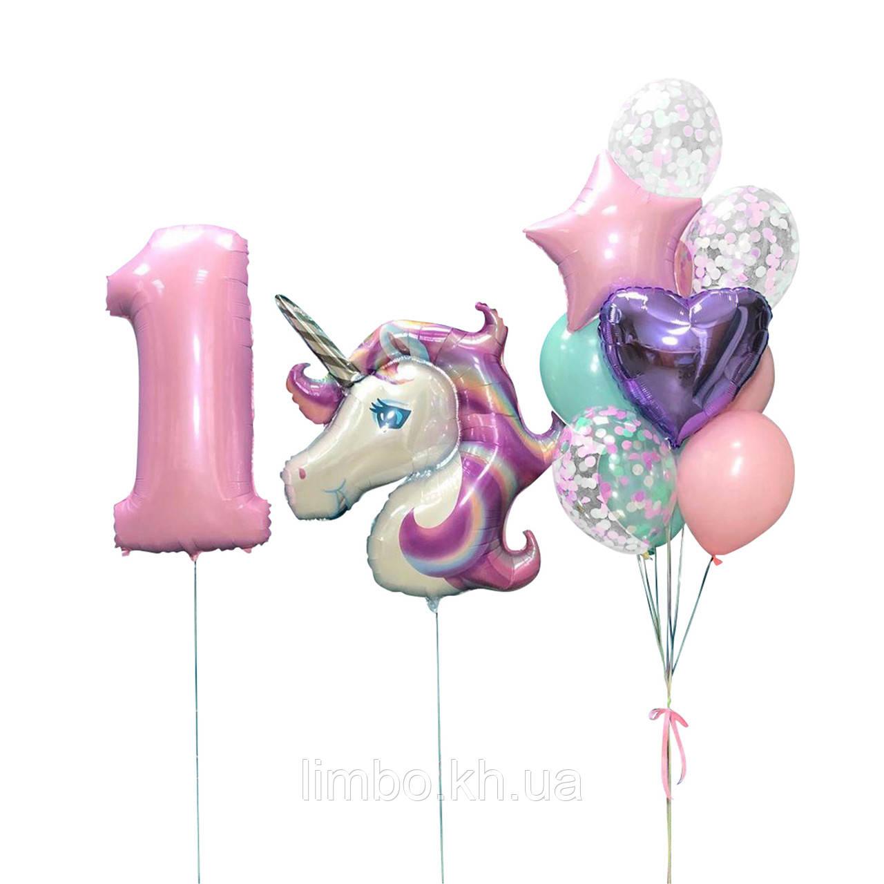 Шарики на день рождения, шарик цифра 1 и фольгированная фигура Единорог