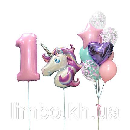 Шарики на день рождения, шарик цифра 1 и фольгированная фигура Единорог, фото 2
