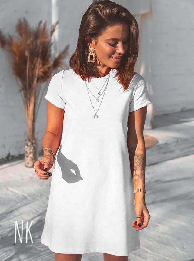 Летнее платье-футболка свободного кроя