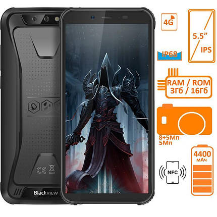 Смартфон Blackview BV5500 Pro 3/16GB Dual SIM Black OFFICIAL UA-VF, фото 2