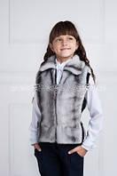 Детская меховая жилетка с довязом