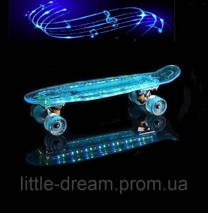 "Пенни борд ( скейтборд , скейт ) Penny Board ""Fish Skateboard"" голубая светящаяся дека с музыкой"
