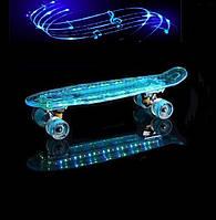 "Пенни борд ( скейтборд , скейт ) Penny Board ""Fish Skateboard"" голубая светящаяся дека с музыкой, фото 1"