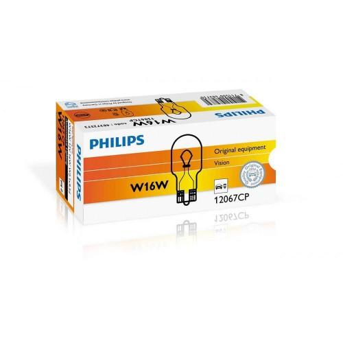 Лампа накаливания Philips W16W, 10шт/картон 12067CP