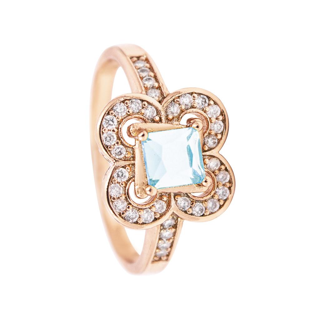 Кольцо позолота квадратный камень в оправе из цветов