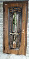 Двери входные металлические Пегас со стеклом и ковкой