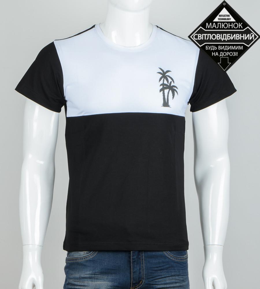 -Р- Футболка двухцветная светоотражающая Пальма Черный с белым (0936м), L