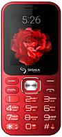 Кнопочный телефон с фонариком, павер банком и большим экраном Sigma X-Style 32 Boombox Red