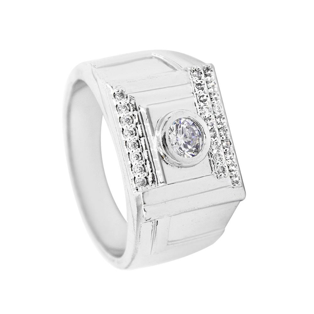 Кольцо Печатка родиум