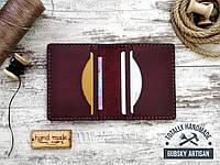 Кредитница мини кошелек карт холдер фиолетовый из натуральной кожи crazy horse, фото 1