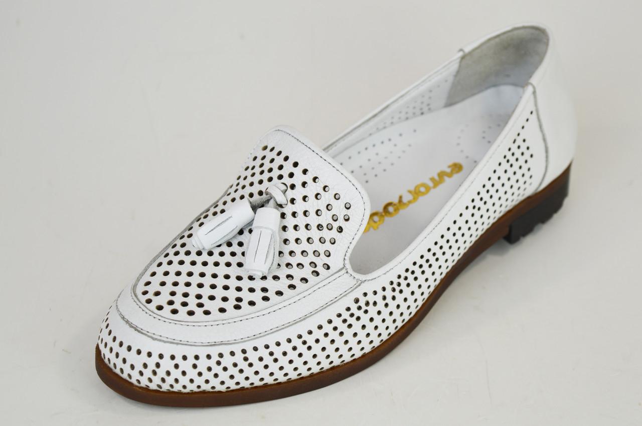Туфли Женские белые летние Euromoda 6013 с перфорацией