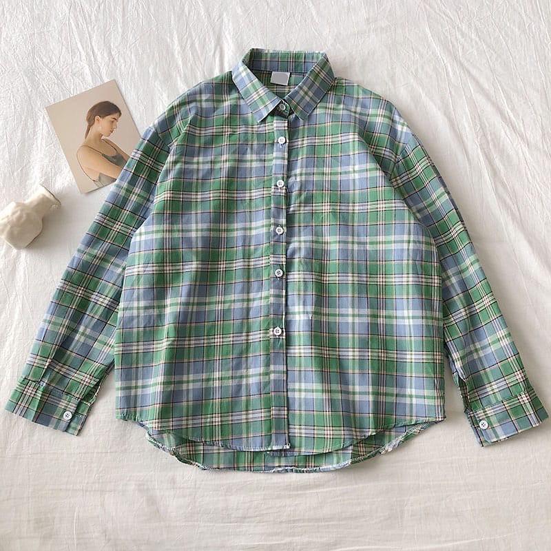 Рубашка женская в клетку зеленая