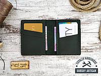 Кредитница мини кошелек карт холдер зелёный из натуральной кожи crazy horse