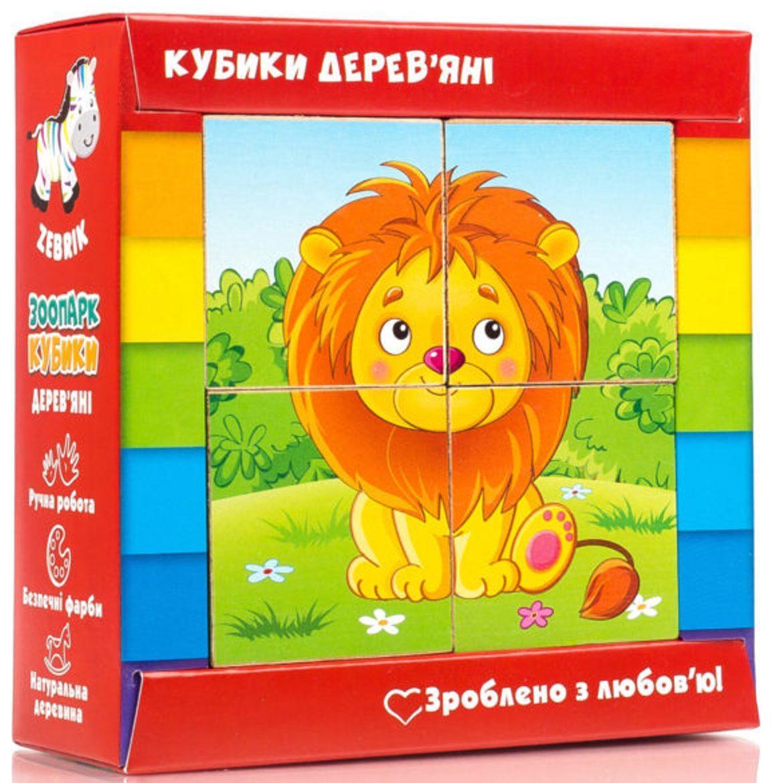Деревянные кубики для детей Зоопарк (укр), Vladi Toys (ZB1001-02)