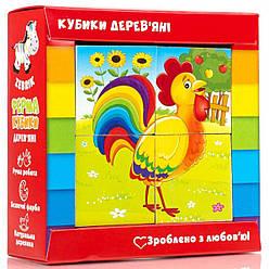 Дерев'яні кубики для дітей Ферма (укр), Vladi Toys (ZB1001-01)