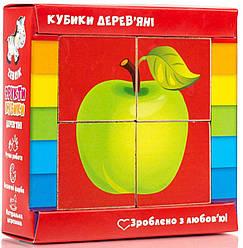 Дерев'яні кубики для дітей Фрукти (укр), Vladi Toys (ZB1001-04)