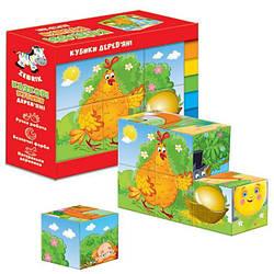 Дерев'яні кубики для дітей Казки (укр)