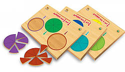 Деревянные рамки-вкладыши Дроби набор 3 шт от 1 до 1/9 (укр), Вундеркинд (ДР-026)