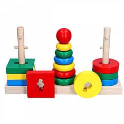 Деревянная игрушка Пирамидка 3 в 1, Komarovtoys (А 338)
