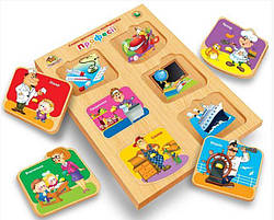 Детская развивающая деревянная игрушка рамка вкладыш Монтессори с подслоем Профессии (укр), Вундеркинд