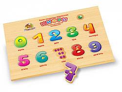 Детская развивающая деревянная игрушка рамка вкладыш Монтессори Цифры (укр), Вундеркинд (РВ-056)
