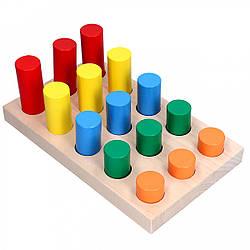 Деревянная игрушка сортер Цветные цилиндры, Komarovtoys (А 312)
