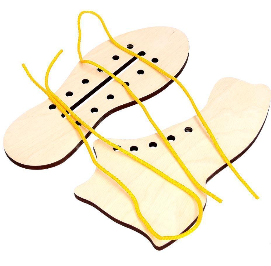 Деревянная игрушка шнуровка Ботинок и кед, Komarovtoys (К 125)