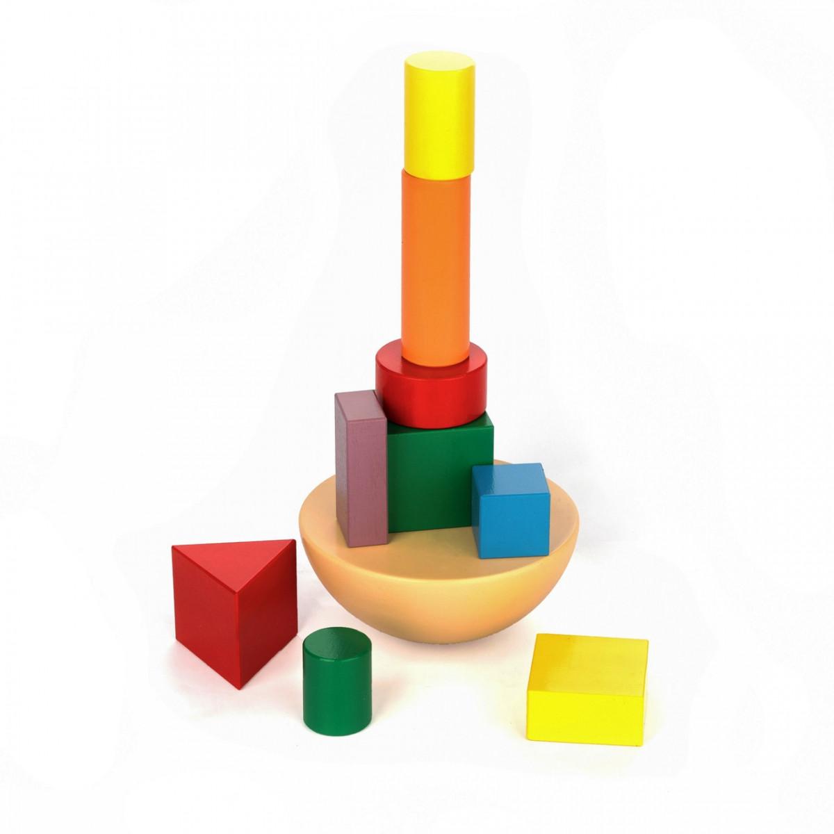 Деревянная игрушка-балансир Кривая башня, Komarovtoys (А 351)
