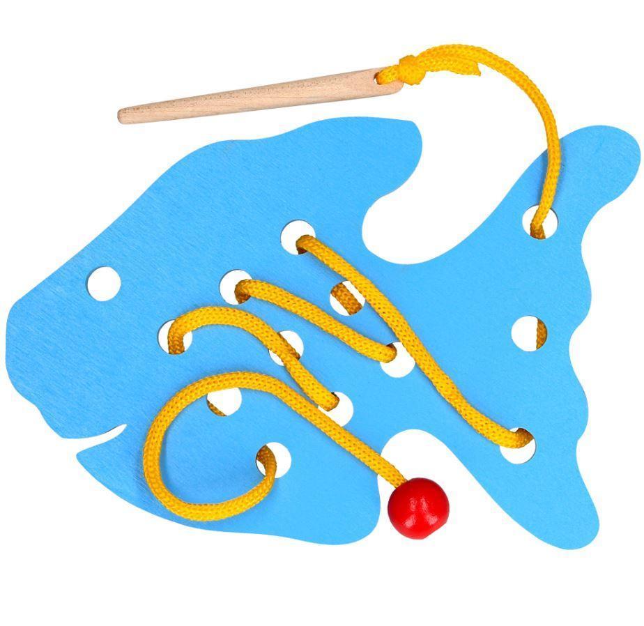Деревянная игрушка-шнуровка Рыбка, Komarovtoys (К 140)