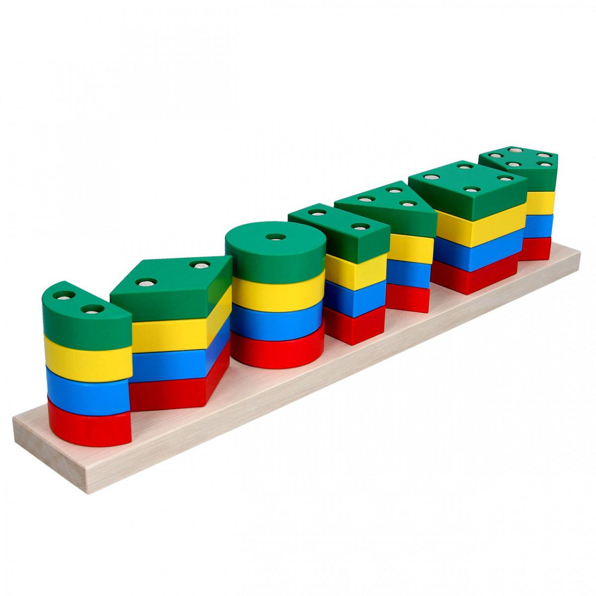 Деревянная пирамидка сортировщик Гео Xxl, Komarovtoys (А 340)