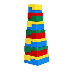 Деревянная Пирамидка Ступеньки 14 элементов, Komarovtoys (А 334)