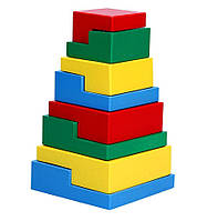 Деревянная Пирамидка Ступеньки 8 элементов, Komarovtoys (А 332)
