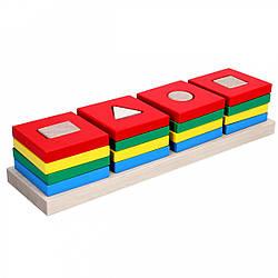 Деревянная Пирамидка Цветной квартет, Komarovtoys (А 344)