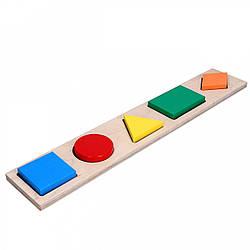 Детская развивающая деревянная игрушка рамка вкладыш Монтессори Геометрика 5 фигур, Komarovtoys (А 326)