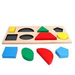 Детская развивающая деревянная игрушка рамка вкладыш Монтессори Геометрика 8 фигур, Komarovtoys (А 327)