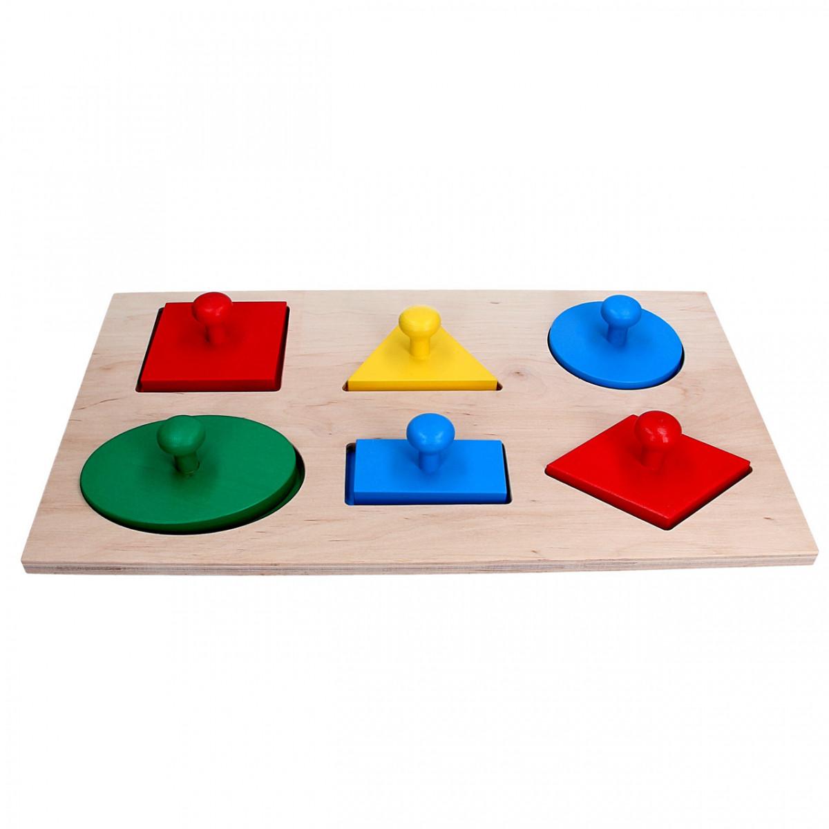 Дерев'яна рамка-вкладиш Геометричні фігури Максі, Komarovtoys (А 328)