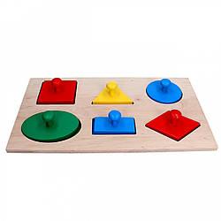 Детская развивающая деревянная игрушка рамка вкладыш Монтессори Геометрические фигуры Макси, Komarovtoys (А