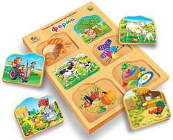 Детская развивающая деревянная игрушка рамка вкладыш Монтессори Ферма (укр), Вундеркинд (РВ-059)