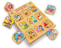 Детская развивающая деревянная игрушка рамка вкладыш Монтессори с подслоем Распорядок дня (укр), Вундеркинд