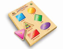 Детская развивающая деревянная игрушка рамка вкладыш Монтессори с ручками Геометрические Фигуры (укр),