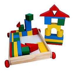 Дерев'яні кубики у візку Архітектор 35 деталей, Komarovtoys (А 352)