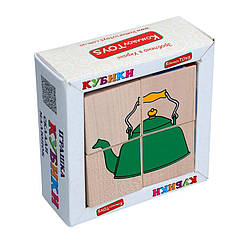 Деревянные кубики для детей Посуда, Komarovtoys (Т 605) (укр)