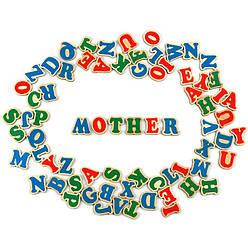 Деревянный Английский магнитный алфавит 72 магнитные буквы, Komarovtoys (J 707)