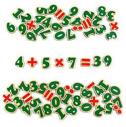 Магнитные цифры и знаки дерево 72 элемента, Komarovtoys (J 706)