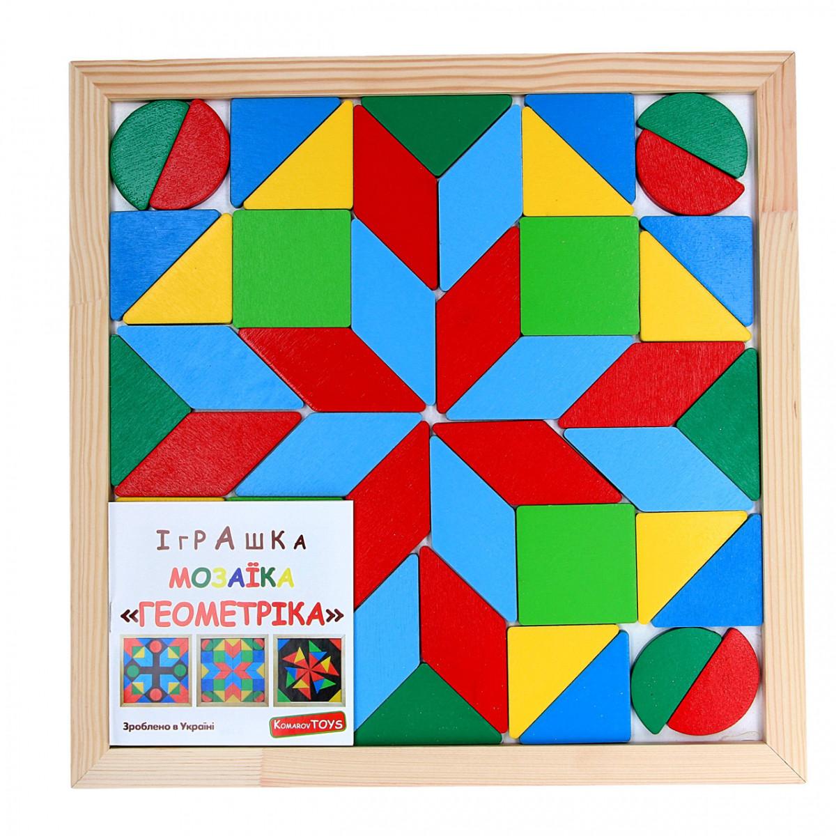 Детская деревянная мозаика Геометрика 4 фигуры, Komarovtoys (А 346)