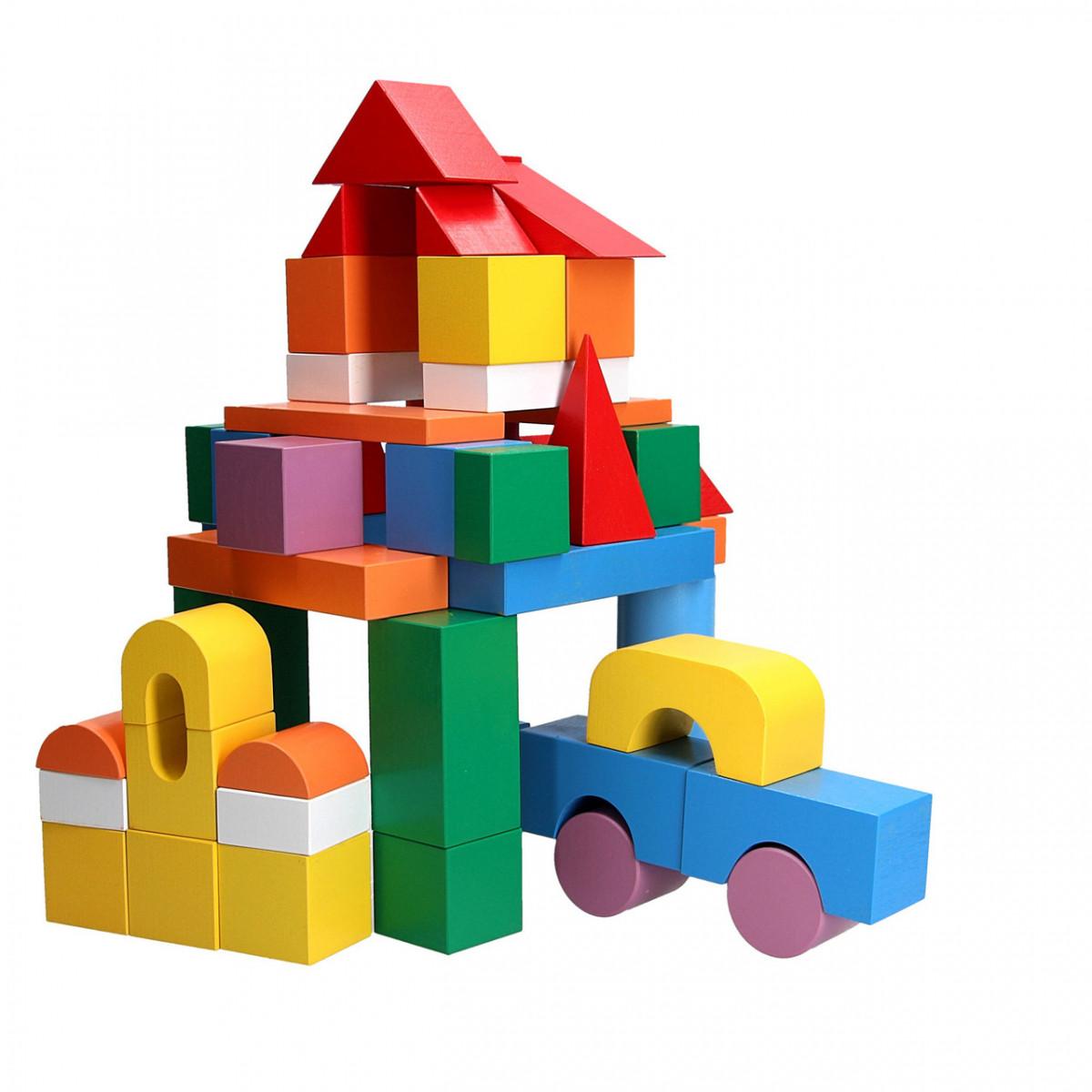 Детские деревянные кубики 50 шт в ведре, Komarovtoys (А 319)